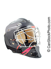 goalie helmet - black and red isolated hockey goalie mask