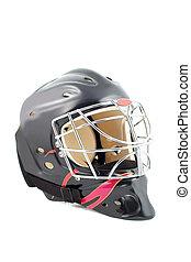 goalie helmet - black and red isolated hockey goalie mask