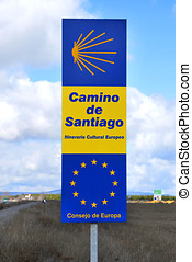 Road sign Camino de Santiago - Road sign in Camino de...