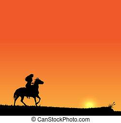Riding girl on sunset sky. EPS10 vector