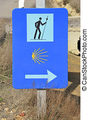 Sign of Camino de Santiago, european cultural itinerary...
