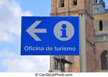 Tourist office sign in blue. Astorga, León, Castilla y León,...