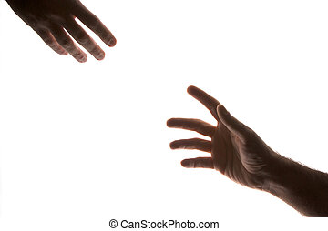 helping hand - two male hands with fingers outstretched...