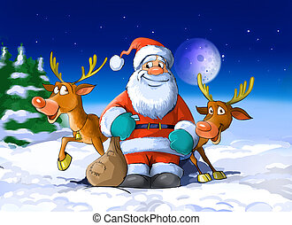 Santa Claus surrounded by his deers - A colorfull...