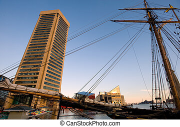 Inner Harbor of Baltimore - Pride of Baltimore ship in Inner...
