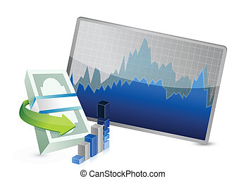 successful stock exchange graph illustration design over a...