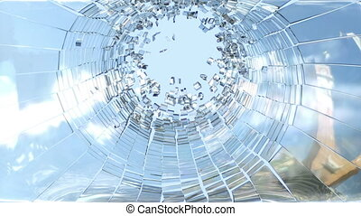 Shattered glass with slow motion