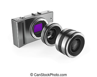Mirrorless camera system - Mirrorless camera with lenses on...