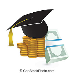 tuition fee education costs concept illustration design over...