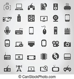 Electronics an icon - Set of icons of electronics. A vector...