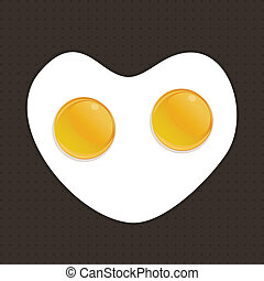Fried eggs from two eggs. A vector illustration