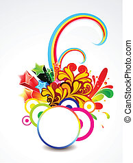 abstract explode circle with floral vector illustration