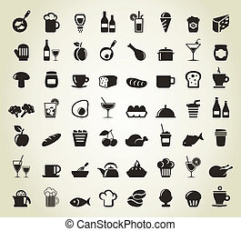 Meal icons - Set of icons on a theme food A vector...