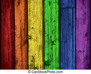 Rainbow colors wood background - Background of grungy old...
