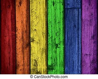 arco íris, cores, madeira, fundo