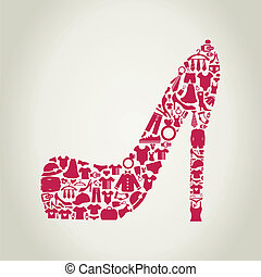 Shoes made of clothes. A vector illustration