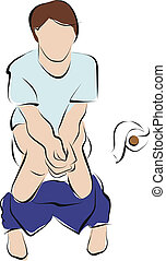constipation  - man on toilet and painful with constipation
