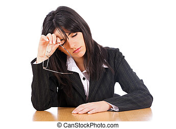 Exhaustion At Work - Woman lawyer taking off her glasses...
