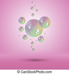Rainbow bubbles multicolor soap bubble Vector with...