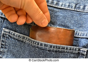 Theft of a purse from a pair of jeans