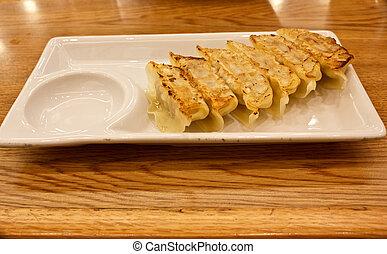 gyoza - menu gyoza in the japanese restaurant