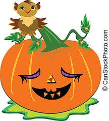 Halloween Pumpkin and Wise Owl