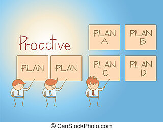 business man proactive solution plan cartoon character