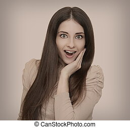 Smiling surprising woman with opened mouth. Vintage style...