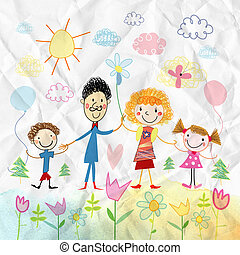 Child's drawing of happy family