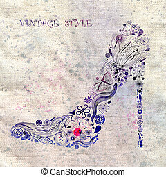 vintage shoes from the flower pattern - beautiful female...