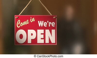 Open sign - Open door sign, man in blackground