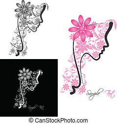 Woman with Floral - Perfect profile of a Woman with Floral