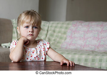 Little girl watching TV - Horizontal photo of a 3 year old...