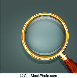 vector icon magnifier with wooden handle close up