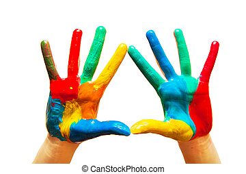 Painted hands, colorful fun. Isolated - Painted hands,...