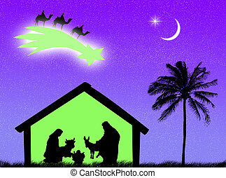 Nativity - Jesus birth in the stable to represent Christmas...