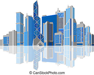 Business theme. Skyscraper on white background.