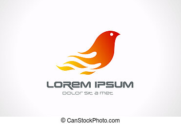 Logo Fire Flame Bird abstract icon. Phoenix concept. - Fire...