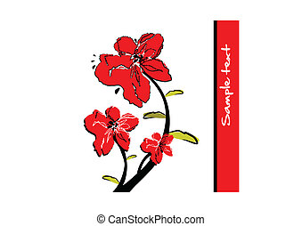 Red flowers - Abstract background with bright red flowers