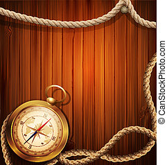 vector compass and marine rope - vector vintage background...