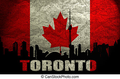 View of  Toronto on the Grunge Canadian Flag