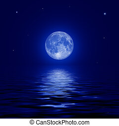 Full moon and stars reflected in the water surface...