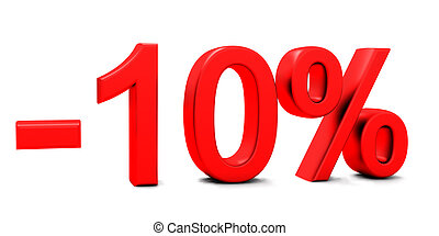 3D rendering of a 10 per cent in red letters on a white...