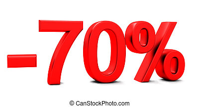 3D rendering of a 70 per cent in red letters on a white...