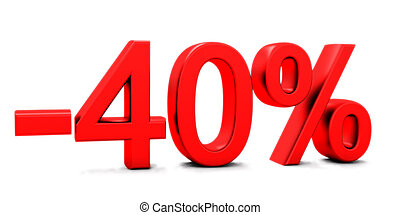 3D rendering of a 40 per cent in red letters on a white...