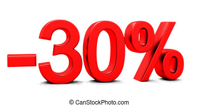 3D rendering of a 30 per cent in red letters on a white...