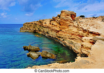 view of Punta de Sa Pedrera coast in Formentera, Balearic Islands, Spain
