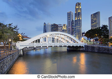 Singapore Skyline by Elgin Bridge Along River - Singapore...