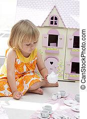 女孩, 玩, 茶壺, 集合