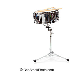 A snare drum on a white background - A snare drum with...